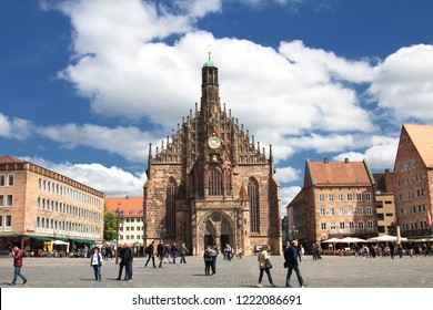 NUREMBERG, GERMANY - MAY 1, 2018: Frauenkirche (Our Lady's church) at the Nuernberger Hauptmarkt (central square) in historical Nuremberg town. Nuremberg, Bavaria, Germany. Nuremberg.
