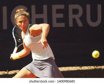 Nuremberg, Germany - May 18, 2019: Italian tennis player Sara Errani at the Euro 250.000 WTA Versicherungscup Tournament first round match against Raluka Serban