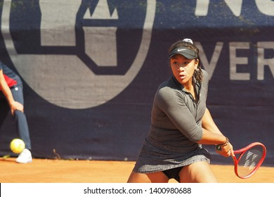 Nuremberg, Germany - May 18, 2019: Raising Australian Tennis teenager Destanee Aiava at the Euro 250.000 WTA Versicherungscup Tournament first round match against Mira Antonitsch