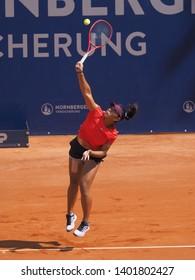 Nuremberg, Germany - May 19, 2019: Raising Australian Tennis teenager Destanee Aiava at the Euro 250.000 WTA Versicherungscup Tournament second round match against German Jule Niemeier