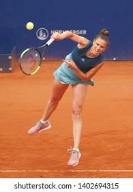 Nuremberg, Germany - May 20, 2019: Argentine tennis player Paula Ormaechea at the Euro 250.000 WTA Versicherungscup Tournament 1st round main draw match against German player Mona Barthels