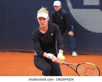 Nuremberg, Germany - May 20, 2019: American tennis player Alison Riske at the Euro 250.000 WTA Versicherungscup Tournament 1st round main draw match against Serbian player Nina Stojanovic