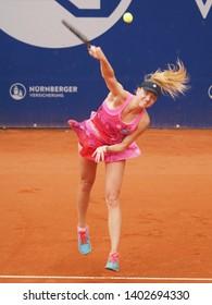 Nuremberg, Germany - May 20, 2019: German tennis player Mona Barthels at the Euro 250.000 WTA Versicherungscup Tournament 1st round main draw match against Argentine player Paula Ormaechea