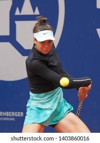Nuremberg, Germany - May 21, 2019: Australian tennis player Ajla Tomljanovic at the Euro 250.000 WTA Versicherungscup Tournament 1st round match against German player Sabine Lisicki