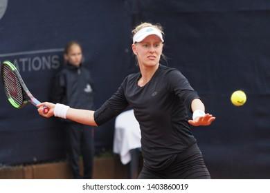 Nuremberg, Germany - May 21, 2019: American tennis player Alison Riske at the Euro 250.000 WTA Versicherungscup Tournament 1st round main draw match against Serbian player Nina Stojanovic