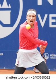 Nuremberg, Germany - May 21, 2019: German tennis player Andrea Petkovic at the Euro 250.000 WTA Versicherungscup Tournament 1st round match against Turkisch player Cagla Buyukakcay