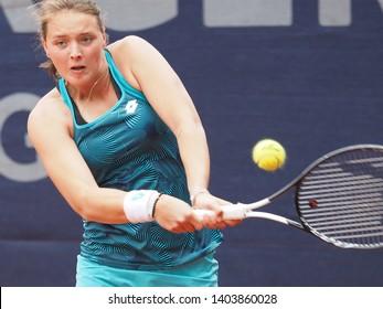 Nuremberg, Germany - May 21, 2019: German tennis player Jule Niemeier at the Euro 250.000 WTA Versicherungscup Tournament 1st round match against Chech player Krystina Pliskova