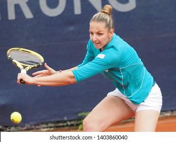 Nuremberg, Germany - May 21, 2019:  Czech player Krystina Pliskova  at the Euro 250.000 WTA Versicherungscup Tournament 1st round main draw match against GErman tennis player Jule Niemeier