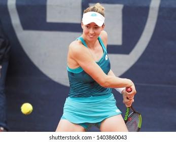 Nuremberg, Germany - May 21, 2019:  Serbian player Nina Stojanovic  at the Euro 250.000 WTA Versicherungscup Tournament 1st round main draw match against American tennis player Alison Riske