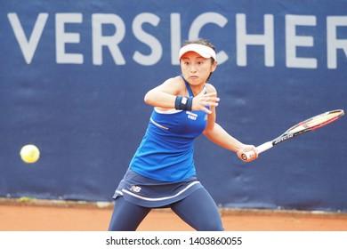 Nuremberg, Germany - May 21, 2019: Japanese tennis player Misaki Doi at the Euro 250.000 WTA Versicherungscup Tournament 1st round match against Slowenian player Tamara Zidansek