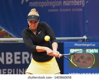 Nuremberg, Germany - May 21, 2019: German tennis player Sabine Lisicki at the Euro 250.000 WTA Versicherungscup Tournament 1st round match against Australian tennis player Ajla Tomljanovic