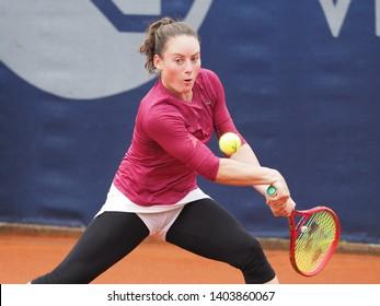 Nuremberg, Germany - May 21, 2019: Slowenian player Tamara Zidansek at the Euro 250.000 WTA Versicherungscup Tournament 1st round match against Japanese tennis player Misaki Doi