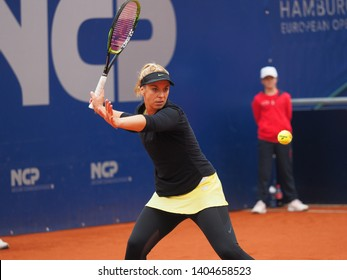 Nuremberg, Germany - May 22, 2019: German tennis player Sabine Lisicki at the Euro 250.000 WTA Versicherungscup Tournament 2nd round match against Australian tennis player Ajla Tomljanovic