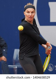 Nuremberg, Germany - May 22, 2019: Russian tennis player Svetlana Kuznetsova at the Euro 250.000 WTA Versicherungscup Tournament 2nd round match against Swedish player Johanna Larsson