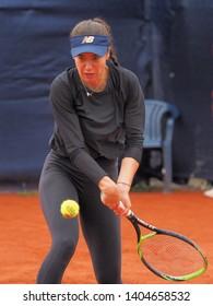 Nuremberg, Germany - May 22, 2019: Rumanian tennis player Sorana Cirstea at the Euro 250.000 WTA Versicherungscup Tournament 2nd round match against Belgian tennis player Kirsten Flipkens
