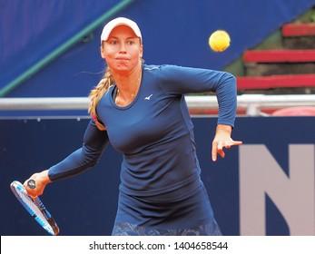Nuremberg, Germany - May 22, 2019: Kazach tennis player Yulia Putintseva at the Euro 250.000 WTA Versicherungscup Tournament 2nd round match against German player Mona Barthel