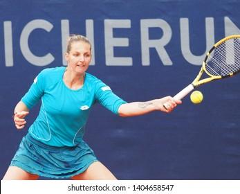 Nuremberg, Germany - May 22, 2019: Czech tennis player Kristyna Pliskova at the Euro 250.000 WTA Versicherungscup Tournament 2nd round match against US tennis player Madison Brengle