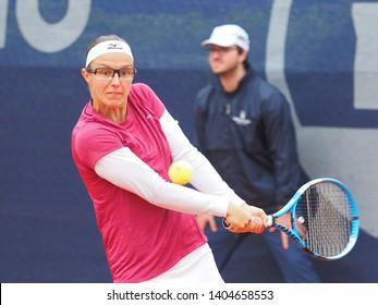 Nuremberg, Germany - May 22, 2019: Belgian tennis player Kirsten Flipkens at the Euro 250.000 WTA Versicherungscup Tournament 2nd round match against Rumanian tennis player Sorana Cirstea