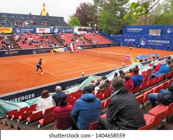 Nuremberg, Germany - May 22, 2019: Centre court at the Euro 250.000 WTA Versicherungscup Tournament during the match A Tomljanovic vs S Lisicki