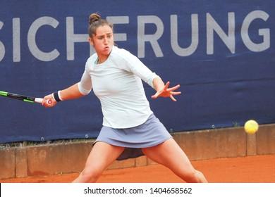 Nuremberg, Germany - May 22, 2019: Spanish player Sara Sorribes Tormo at the Euro 250.000 WTA Versicherungscup Tournament 2nd round match against Serbian tennis player Nina Stojanovic