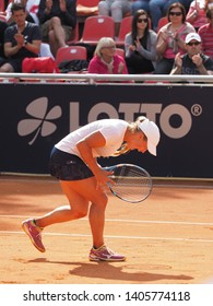 Nuremberg, Germany - May 23, 2019: Kazach tennis player Yulia Putintseva at the Euro 250.000 WTA Versicherungscup Tournament quarterfinal match win against German player Anna-Lena Friedsam