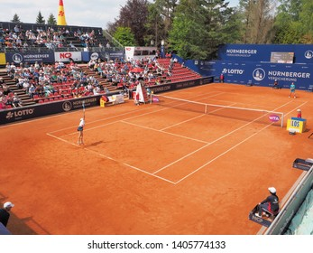 Nuremberg, Germany - May 23, 2019: Centre court at the Euro 250.000 WTA Versicherungscup Tournament during the matchY Putintseva vs Anne-Lena Friedsam