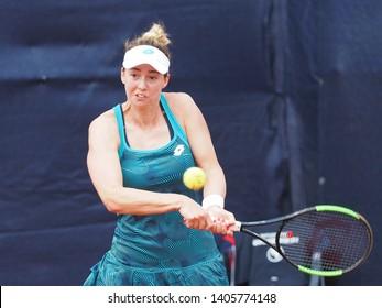 Nuremberg, Germany - May 23, 2019:  Serbian player Nina Stojanovic  at the Euro 250.000 WTA Versicherungscup Tournament quarterfinal main draw match against Roumainian tennis player Sorana Cirstea