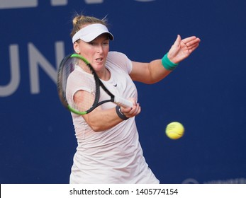 Nuremberg, Germany - May 23, 2019: US tennis player Madison Brengle at the Euro 250.000 WTA Versicherungscup Tournament quarterfinal match against tennis player Katerina Siniakova from Czechia