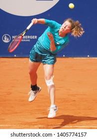 Nuremberg, Germany - May 23, 2019: German tennis player Anna-Lean Friedsam at the Euro 250.000 WTA Versicherungscup Tournament quarterfinal match against tennis player Yulia Putintseva from Kazachstan
