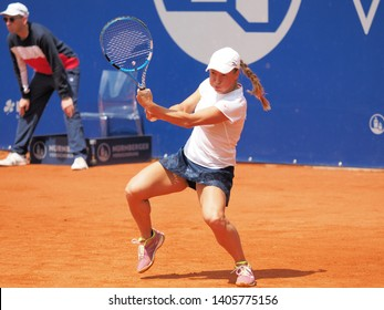 Nuremberg, Germany - May 23, 2019: Kazach tennis player Yulia Putintseva at the Euro 250.000 WTA Versicherungscup Tournament quarterfinal match against German player Anna-Lena Friedsam