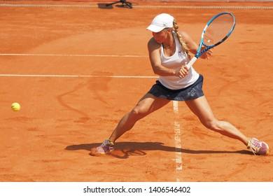 Nuremberg, Germany - May 24, 2019: Kazach tennis player Yulia Putintseva at the Euro 250.000 WTA Versicherungscup Tournament semifinal match win against Rumanian tennis player Sorana Cirstea