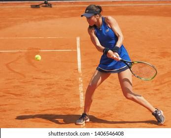 Nuremberg, Germany - May 24, 2019: Rumanian tennis player Sorana Cirstea at the Euro 250.000 WTA Versicherungscup Tournament semifinal round match against Kazach tennis player Yulia Putintseva