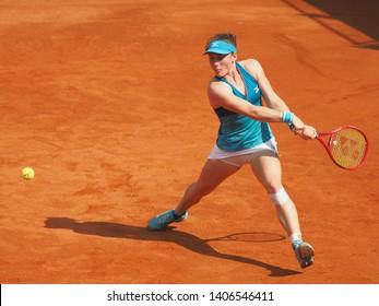 Nuremberg, Germany - May 24, 2019: Slowenian player Tamara Zidansek at the Euro 250.000 WTA Versicherungscup Tournament semifinal match against Czech tennis player Katerina Siniakova