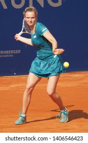 Nuremberg, Germany - May 24, 2019: Czech tennis player Katerina Siniakova at the Euro 250.000 WTA Versicherungscup Tournament semifinal round match against Slowenian tennis player Tamara Zidansek