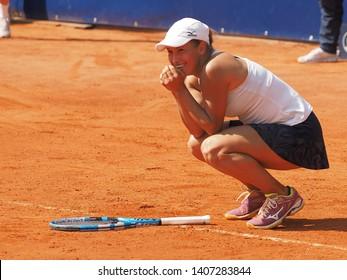 Nuremberg, Germany - May 25, 2019: Kazach tennis player Yulia Putintseva winning the final at the Euro 250.000 WTA Versicherungscup