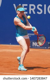 Nuremberg, Germany - May 25, 2019: Slowenian player Tamara Zidansek at the Euro 250.000 WTA Versicherungscup Tournament final match against tennis playerYulia Putintseva from Kazachstan