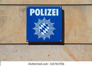 NUREMBERG, GERMANY - MAY 6, 2018: Police Station sign in Nuremberg, Germany. Bavarian State Police (Bayerische Staatliche Polizei) employs 33,500 officers.