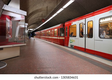 NUREMBERG, GERMANY - MAY 7, 2018: People ride subway train by VAG in Nuremberg, Germany. Nuremberg is located in Middle Franconia. 511,628 people live here.
