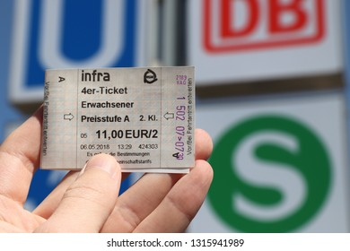 NUREMBERG, GERMANY - MAY 7, 2018: Ticket for public transportation (VAG) in Nuremberg, Germany. Nuremberg is located in Middle Franconia. 511,628 people live here.