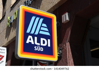 NUREMBERG, GERMANY - MAY 7, 2018: Aldi Sud supermarket at a shopping street in Nuremberg, Germany.