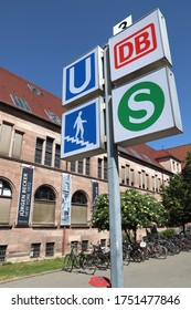 NUREMBERG, GERMANY - MAY 7, 2018: Signs for public transportation station: Deutsche Bahn (DB) and S-Bahn railway in Nuremberg, Germany. Nuremberg is in Middle Franconia. 511,628 people live here.