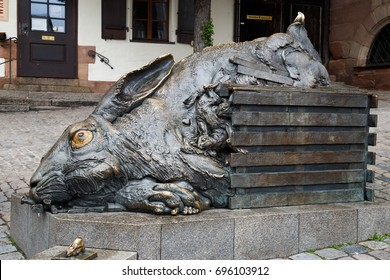 NUREMBERG, GERMANY - MAY 8, 2017: Hare monument