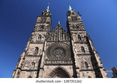 Nuremberg, Germany - medieval landmark. Saint Lawrence (St. Lorenz) Evangelical Lutheran church.