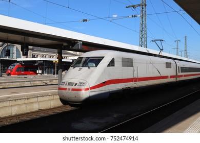 NUREMBERG, GERMANY - OCTOBER 17, 2017: German high speed train (ICE) at Nuremberg main station, Germany