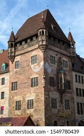 Nuremberg, Germany - October 21st 2019: Nassauer Haus in Nuremberg, Germany. It is a medieval residential tower made of red Burgsandstein - last surviving residential tower or gender tower in the city - Shutterstock ID 1549780439