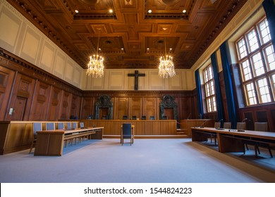 Nuremberg, Germany - October 23rd 2019: A view of Courtroom 600 - the venue of the historic Nuremberg Trials in the city of Nuremberg in Germany.