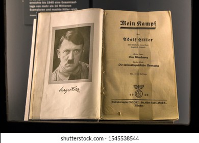 Nuremberg, Germany - October 24th 2019: An original edition of Mein Kampf - the infamous book by Adolf Hitler, on display at the Documentation Center Nazi Party Rally Grounds in Nuremberg, Germany.
