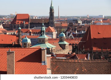 Nuremberg, Germany. Old town rooftops with church towers.