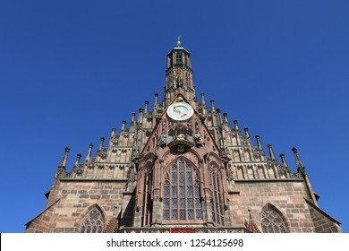 Nuremberg, Germany (region of Middle Franconia). Frauenkirche (Church of Our Lady) at Hauptmarkt city square.