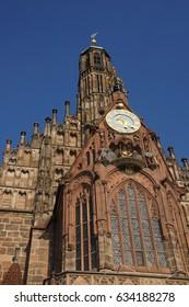 NUREMBERG, GERMANY - SEP 10, 2016 - Medieval church and clock  tower of  Nuremberg, Germany